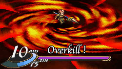 Building up Sin and doing maximum damage with Overkill in 'Valkyrie Profile: Covenant of the Plume'