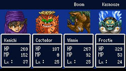 Traditional RPG character leveling in 'Dragon Quest V: Hand of the Heavenly Bride'