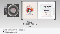 Album and song selection function in 'SingStar Queen'