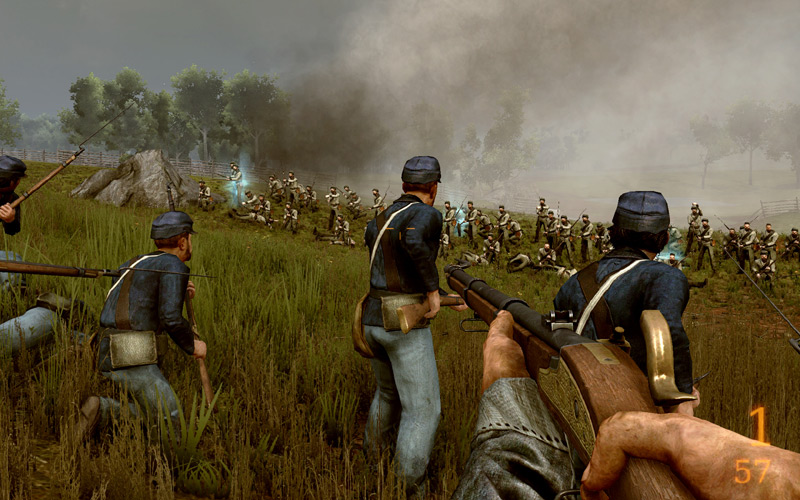 Fighting for American Union forces with a Springfield rifle in
