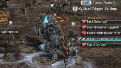 An on-screen command system in 'The Last Remnant'