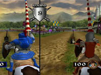 2-player versus action in the jousting mini-game in Medieval Games