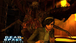 The new female character being snuck up on by a Necromorph in 'Dead Space Extraction'