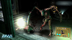 A Necromorph being targeted in 'Dead Space Extraction'