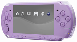 The limited edition Lilac PSP-3000 seen from the front
