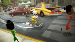 Rabbids causing mayhem among the human population in Rabbids Go Home for Wii