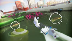Collectable items identified on screen in Rabbids Go Home for Wii