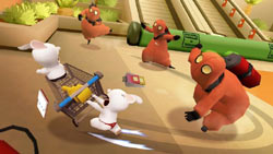 Rabbids avoiding Verminators in Rabbids Go Home for Wii