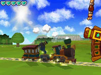 In-game screen of Link's train and train controls in The Legend of Zelda: Spirit Tracks