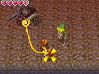 Stylus driven controls of the Phantom in combat in a dungeon crawl with Link in The Legend of Zelda: Spirit Tracks