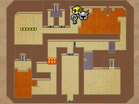 Map screenshot of Link and the Phantom in a lava filled dungeon in The Legend of Zelda: Spirit Tracks