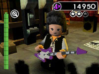 LEGO guitar playing avatar with Rock Band attitude in LEGO Rock Band