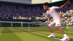Pete Sampras at the net in 'EA Sports Grand Slam Tennis'