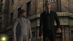 Watson and Holmes on the streets of London in 'Sherlock Holmes vs. Jack The Ripper'