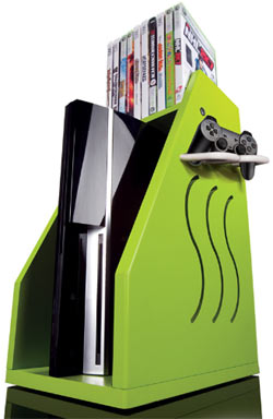 A green GameOn Video Gaming Console Storage unit with an Xbox 360, controller and games