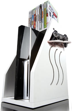 A white GameOn Video Gaming Console Storage unit with an Xbox 360, controller and games