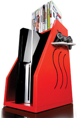 A red GameOn Video Gaming Console Storage unit with an Xbox 360, controller and games