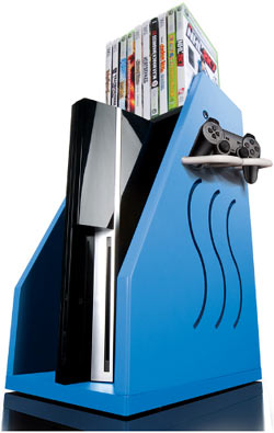 A blue GameOn Video Gaming Console Storage unit with an Xbox 360, controller and games
