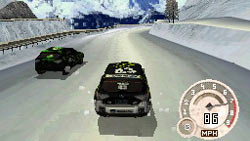 Driving in the snow in 'DiRT 2' for DS