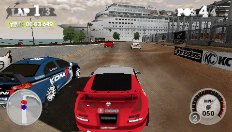 Racing on a city-set course in DiRT 2 for PSP