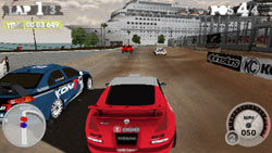 Racing on a city-set course in 'DiRT 2' for PSP