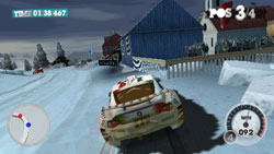 Driving in the snow in 'DiRT 2' for Wii