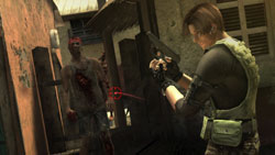 Leon Kennedy facing down zombies in Resident Evil: The Darkside Chronicles