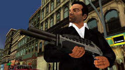 Toni Ciprini and his 'little friend' in 'Grand Theft Auto: Liberty City Stories'