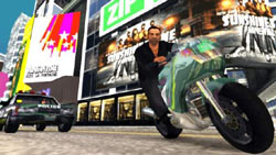 Toni Ciprini on a motorcycle being chased by police in 'Grand Theft Auto: Liberty City Stories'
