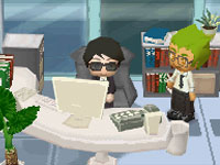 Researching mysteries in 'MySims Agents' for DS