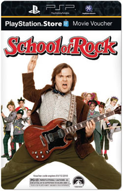 PlayStation Store movie voucher for downloading School of Rock