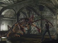 Battling huge mutated bugs in Resident Evil Archive: Resident Evil Zero