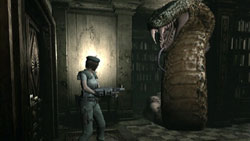 Taking on a snake boss in 'Resident Evil Archives: Resident Evil'