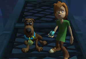 A young Scooby and Shaggy combo in 'Scooby-Doo! First Frights' for PS2