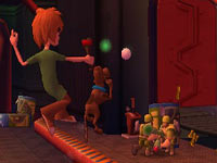 Shaggy and Scoob catching in co-op gameplay in 'Scooby-Doo! First Frights' for PS2