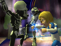 Fred punching out two skeletons in 'Scooby-Doo! First Frights' for PS2