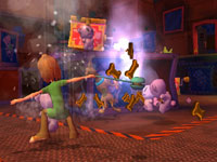 Shaggy letting the scooby snacks fly in 'Scooby-Doo! First Frights' for PS2
