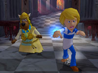 Scooby in a valkarie costume following Fred in 'Scooby-Doo! First Frights' for Wii