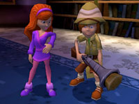 Shaggy with the pith helmet and pop gun, paired with Daphne in 'Scooby-Doo! First Frights' for Wii
