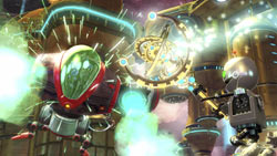 Clank weilding the Chronoscepter in Ratchet & Clank Future: A Crack in Time