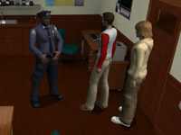 The Boys talking to a non-player character in 'The Hardy Boys: The Hidden Theft' for Wii