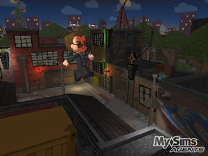 An agent jumping between buildings in 'MySims Agents'