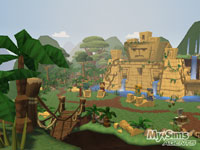 An exotic, explorable temple complex in 'MySims Agents'