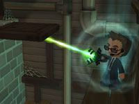 An agent using a laser gadget to do some platforming in 'MySims Agents'