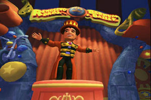 The in-game ring master from Ringling Bros. and Barnum & Bailey the game for Wii