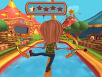 Tightrope walking act utilizing the Wii Balance Board in Ringling Bros. and Barnum & Bailey the game for Wii