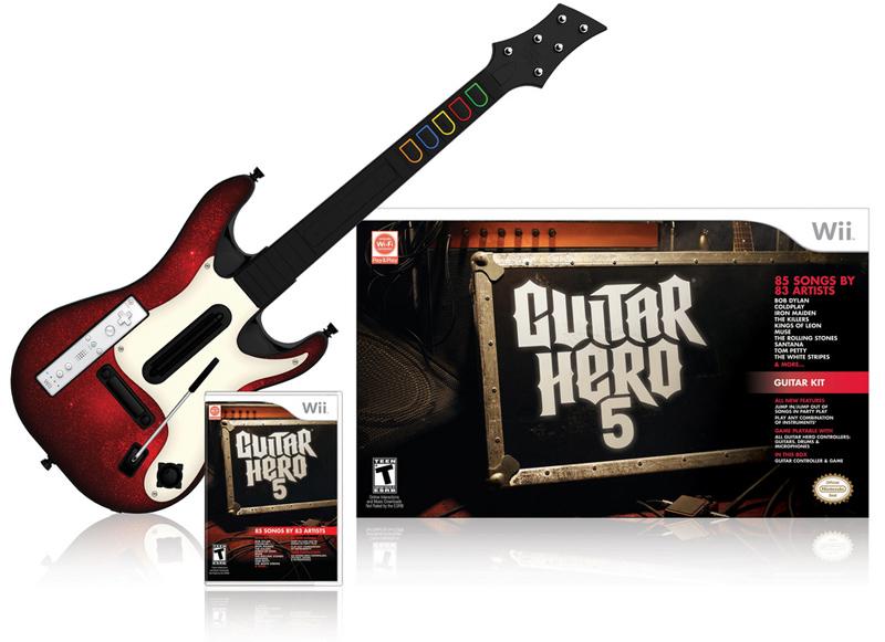 wii guitar hero 5 guitar bundle nintendo wii video games. Black Bedroom Furniture Sets. Home Design Ideas