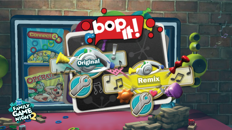 b2f54c91d Bop It game selection screen showing game versions in Hasbro Family Game  Night 2