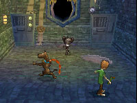 Shaggy and Scoob in co-op gameplay in 'Scooby-Doo! First Frights' for DS