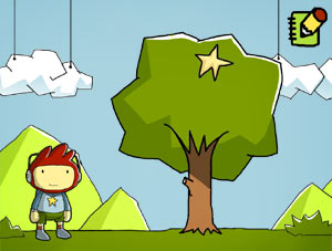 Maxwell with a Starite in a tree in 'Scribblenauts'